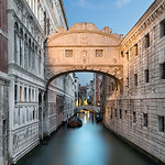 A morning view of The Bridge of Sighs, one of the most famous briges in Venice.