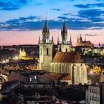 A soft twilight descends over the old Bohemian City of Prague, Czech Republic