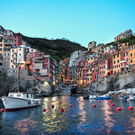 Riomaggiore At Dusk - (Cinque Terre, Italy)